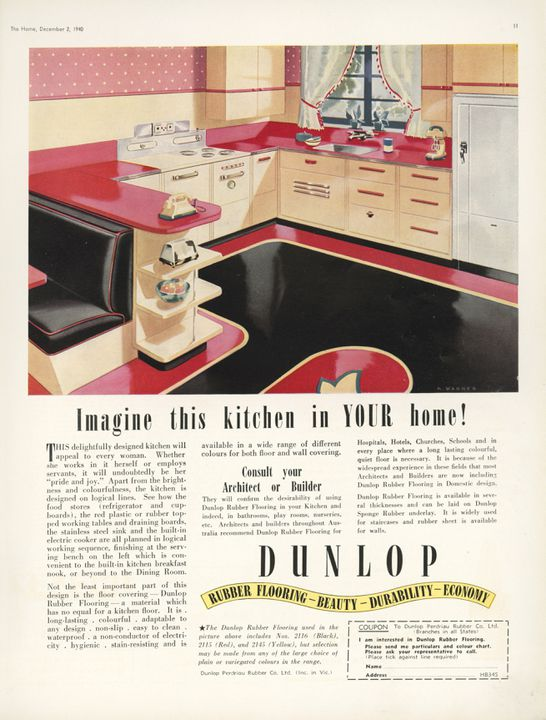 93/349/59-2 Advertisement for Dunlop flooring, magazine, 'The Home', Vol 21 No.12 December 1 1940, paper, Sydney Ure Smith, Sydney, Australia, 1940 [This is a fixed page within the magazine]. Click to enlarge.
