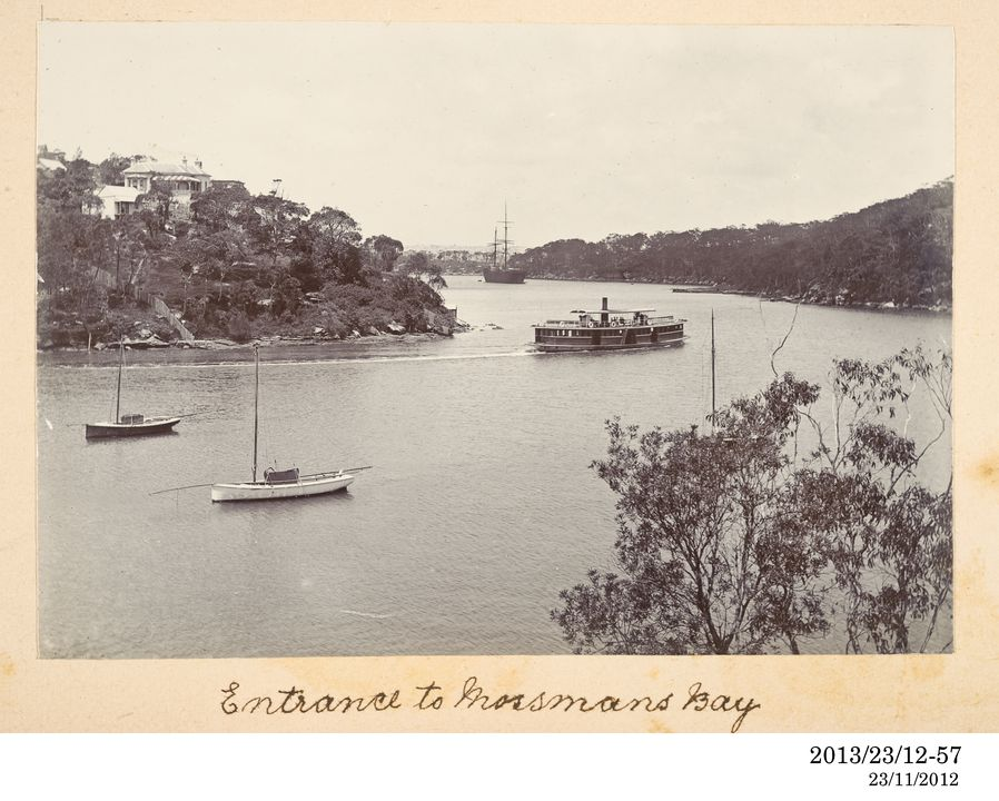2013/23/12-57 Photographic positive, entitled 'Entrance to Mossmans Bay', depicting steam ferry 'Wallaby' entering Mosman Bay, Sydney, silver gelatin / paper, photographer unknown, Sydney Harbour, New South Wales, Australia, 1880-1900. Click to enlarge.