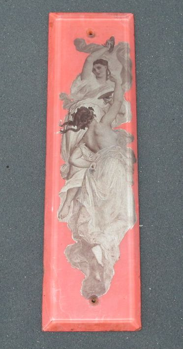 86/19-1 Finger plate for door, glass / metallic transfer prints, depicting two females, possibly made in France, 1900-1910