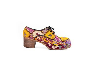 86/14 Shoes (pair), mens, platform soles, embroidered, textile / wood / leather, maker unknown, possibly made in India, 1967, purchased in England, worn by Colin Lanceley, 1967-1986