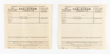 98/2/78-4 Telegram forms (2), part of collection, 'Cablegram Transmission Form', blank, paper / ink, Australian Post Office / Postmaster Generals Department, Australia, 1883-1987