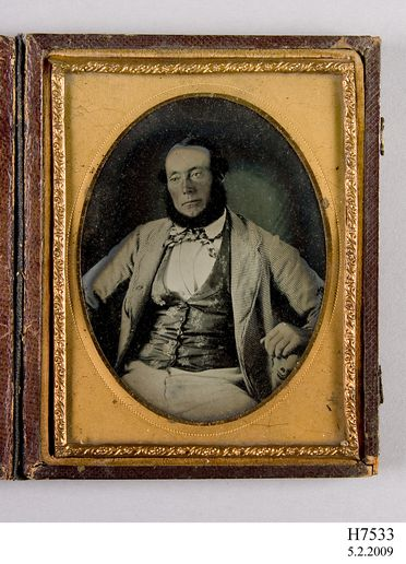 H7533 Ambrotype, studio portrait of Captain R J Miller, collodion / paint / glass / wood / paper / metal / velvet, photographer unknown, 1854-1860