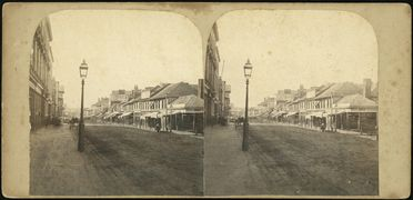 87/1019 Photographic prints (16), mounted stereoviews of Sydney, paper / albumen / silver / ink, published by William Hetzer, Sydney, New South Wales, Australia, 1858-1860