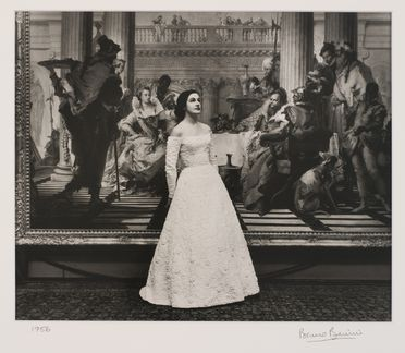 2009/43/1-1/2 Photographic print, black and white, model Catherine Patchell (nee Perkins) wearing Henry Haskin Gown of the Year, photographed in front of the 'Banquet of Cleopatra' painting in the National Gallery of Victoria, photograph by Bruno Benini, Melbourne, Victoria, Australia, 1956