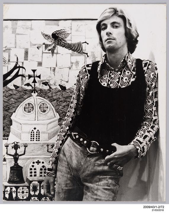 2009/43/1-2/72 Photographic print, portrait of artist Greg Irvine, black and white silver gelatin print, mounted on card, photograph by Bruno Benini, Melbourne, Victoria, Australia, 1971. Click to enlarge.