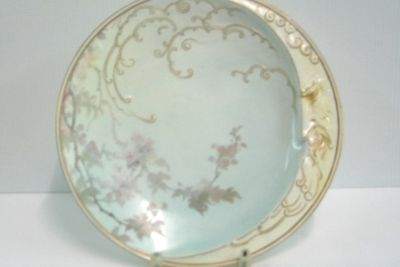 A2778-445 Dessert plate, crescent moon and blossoms, porcelain, painted by Harry Taylor, made by Doulton and Co, Burslem, England, 1885-1891