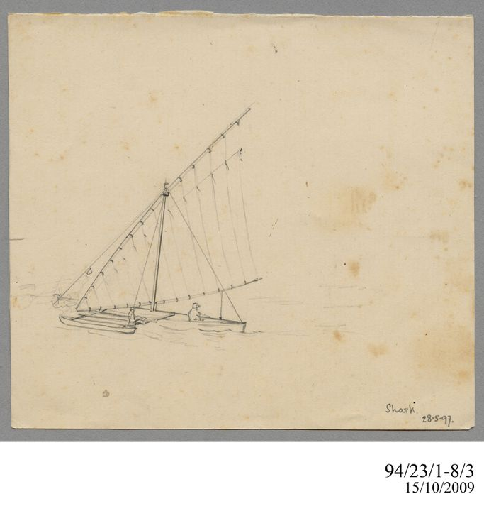 94/23/1-8/3 Drawing, pencil, 'Shark 28.5.97', Lawrence Hargrave, 1897. Click to enlarge.