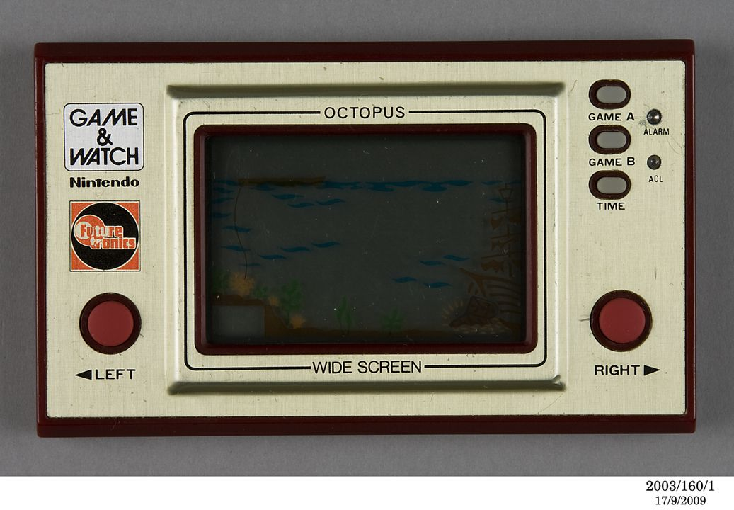2003/160/1 Electronic toy, Nintendo 'Game & Watch' Octopus, plastic /metal /electronics components, designed by Gunpei Yokoi, manufactured by Nintendo, Japan, 1981. Click to enlarge.
