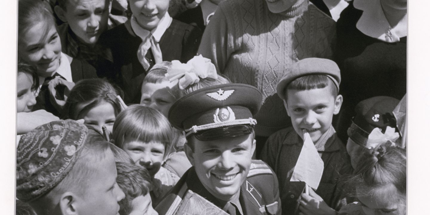 2004/7/2 Photograph and original negative, black and white , Cosmonaut Yuri Gagarin surrounded by children, taken by Valentin Shkolny, paper / acetate film, Union of Soviet Socialist Republics (USSR), 1962 (printed Australia 1997). Click to enlarge.