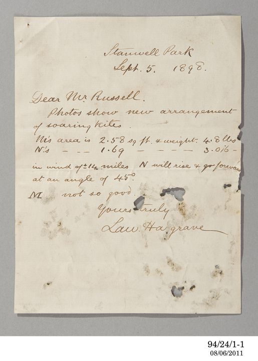 94/24/1 Letter, to Henry Chamberlain Russell from Lawrence Hargrave, Stanwell Park, New South Wales, 5 September 1898. Click to enlarge.
