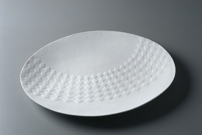 2003/6/2 Platter, 'Diamond platter', Southern Ice porcelain, press moulded with relief decoration, made by Les Blakebrough, Hobart, Tasmania, Australia, 2002