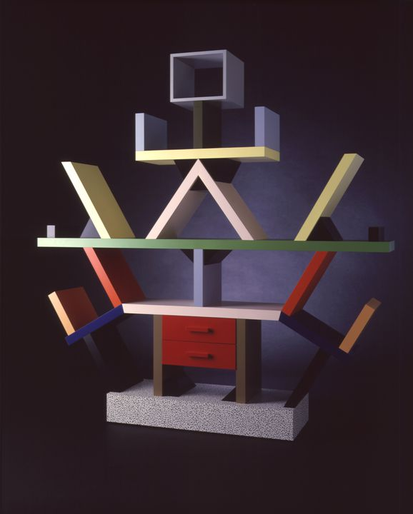86/1015 Room Divider, 'Carlton', wood / plastic laminate, designed by Ettore Sottsass, made by Memphis, Italy, 1981. Click to enlarge.