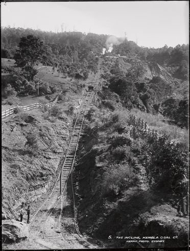 85/1284-2 Glass plate negative, full plate, 'The incline, Kembla Coal Co', Kerry and Co, Sydney, Australia, c. 1884-1917