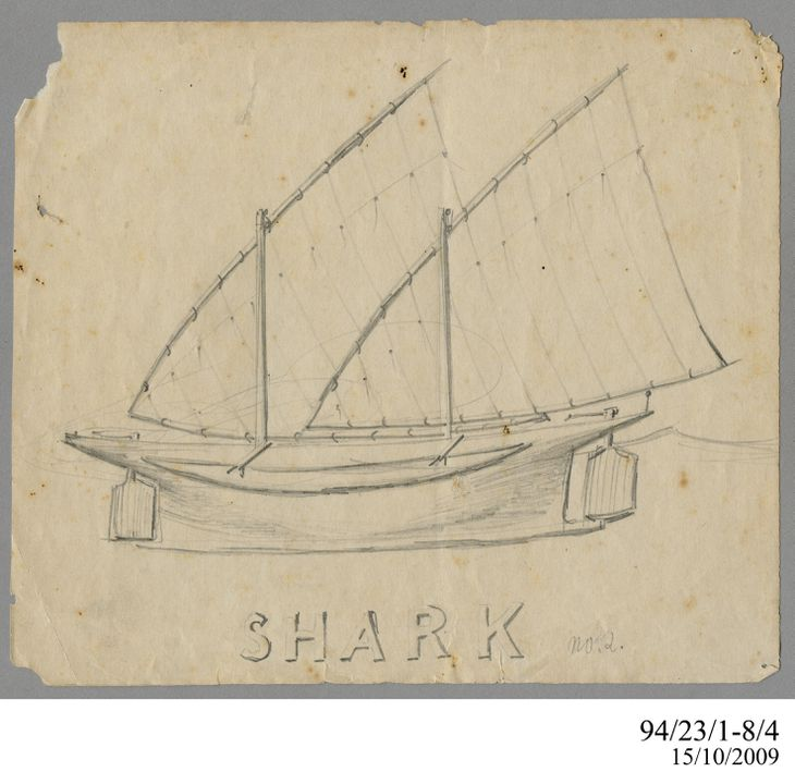 94/23/1-8/4 Drawing, pencil, 'Shark No.2', Lawrence Hargrave, n.d.. Click to enlarge.