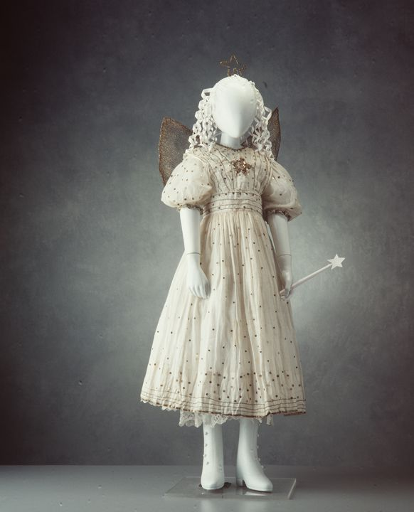 A10343 Fancy dress costume, childs, 'Fairy', muslin / wire / mesh, designed and made by Louisa Wane (nee Killeen), Balmain, Sydney, New South Wales, Australia, 1913, worn by Marjorie Wane, Balmain, New South Wales. Click to enlarge.