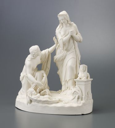 2006/65/1 Sculpture, 'Finding of Moses', Parian porcelain, Classical revival style, designed by William Beattie, made by Josiah Wedgwood and Sons, England, c. 1855