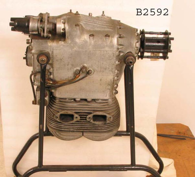 """B2592 Aero engine, Scott """"Flying Squirrel"""" aero engine, s/n A25-5054, 2 cylinder, 2 stroke, model A25 [MkII], inverted air-cooled, Scott Motor Cycle Co Ltd, Shipley, England, 1935-1938 (OF).. Click to enlarge."""