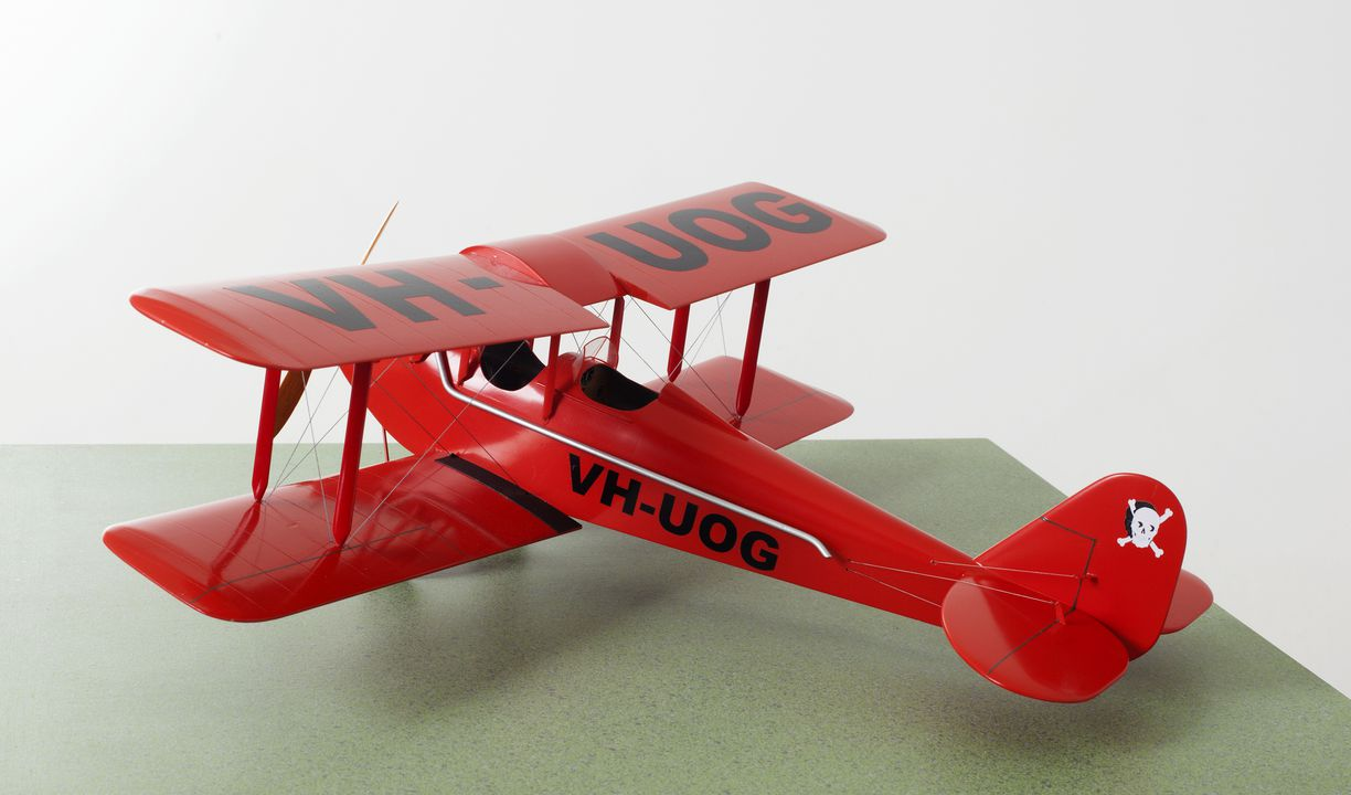 2012/24/1 Aircraft model, Genairco biplane VH-UOG, 'Jolly Roger', 1:17 scale, wood / plastic, made by Iain Scott-Stevenson, Powerhouse Museum, Ultimo, New South Wales, Australia, 2011. Click to enlarge.