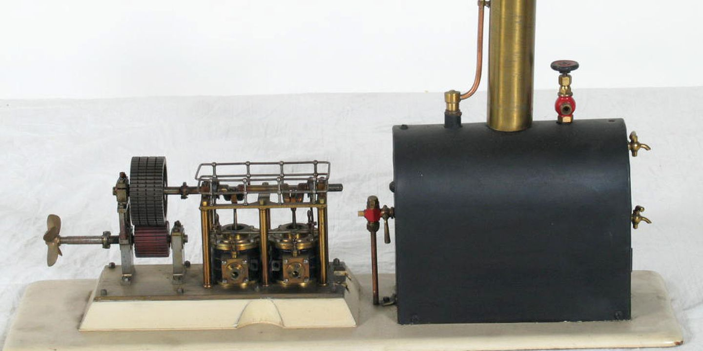 Marine steam engine and boiler model, twin-cylinder paddle engine ...
