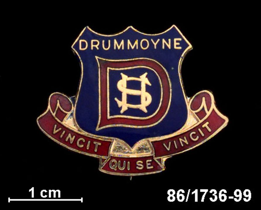 86/1736-99 Badge, Drummoyne Boys' High School, school crest & motto, gilt with blue & red enamel.. Click to enlarge.