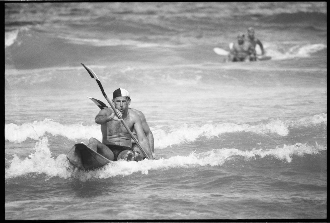 96/44/1-5/4/155/1 Negative, black and white, lifesavers on surf skis, for the book 'Sydney, A Book of Photographs', 35mm acetate film, David Mist, Sydney, New South Wales, Australia, 1969. Click to enlarge.