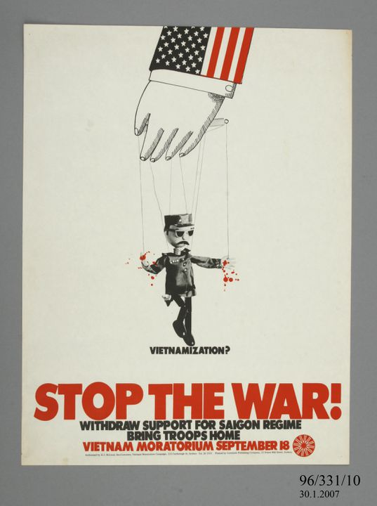 96/331/10 Poster, 'Stop the War', paper, made by Vietnam Moratorium Committee / Comment Publishing Company, Australia, 1965-1973. Click to enlarge.