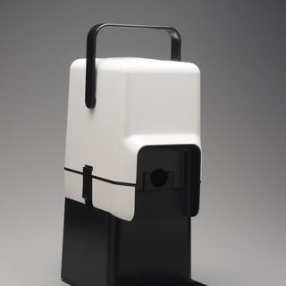 87/117 Wine cask cooler and bar stand, with packaging, plastic / card, designed by Richard Carlson, made by Decor Corporation, Scoresby, Victoria, Australia, 1986.