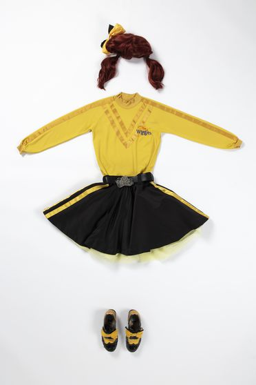 2020/123/7 Costume, 'Yellow Wiggle', textile / metal / plastic / leather / hair, worn by Emma Watkins, skivvy designed by Maria Petrozzi, skirt made by Casa Adamo, Sydney, New South Wales, Australia, for The Wiggles International Pty Limited, Sydney, New South Wales, Australia, 2012-2020