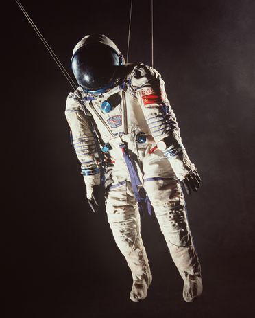 94/65/1 Spacesuit, Soyuz TM-10, nylon, canvas/rubberised fabric/plastic/metal, Zvezda, Moscow, USSR, [1989]