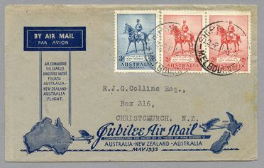 85/112-11 Philatelic cover, Jubilee air mail Australia to New Zealand, from Melbourne, paper, maker unknown, Australia, 1935