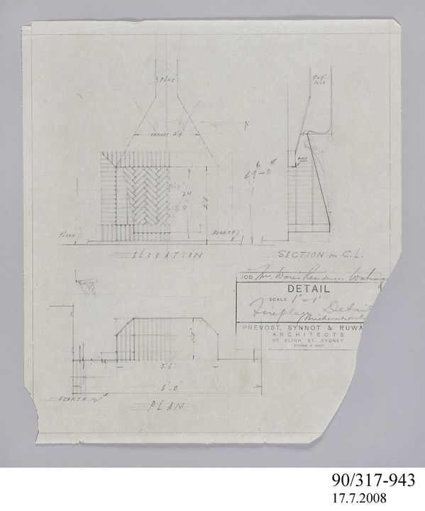 90/317-943 Pencil drawing, fireplace detail. Residence (Mrs E L Ware), Wahroonga. Prevost, Synnot & Ruwald, No date. Click to enlarge.