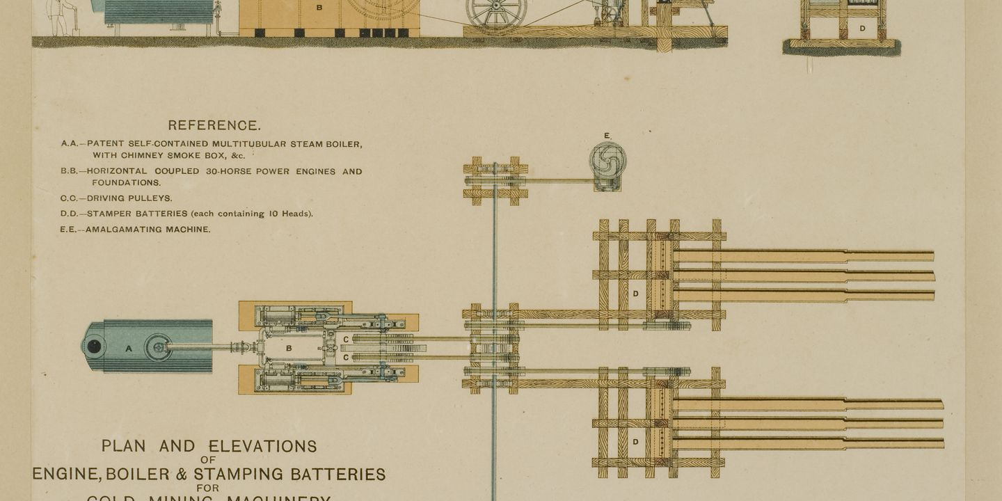 Diagram Of Mining Machinery Plan And Elevations Boiler Engine Smart Stamper Batteries For Extracting Gold From Rock