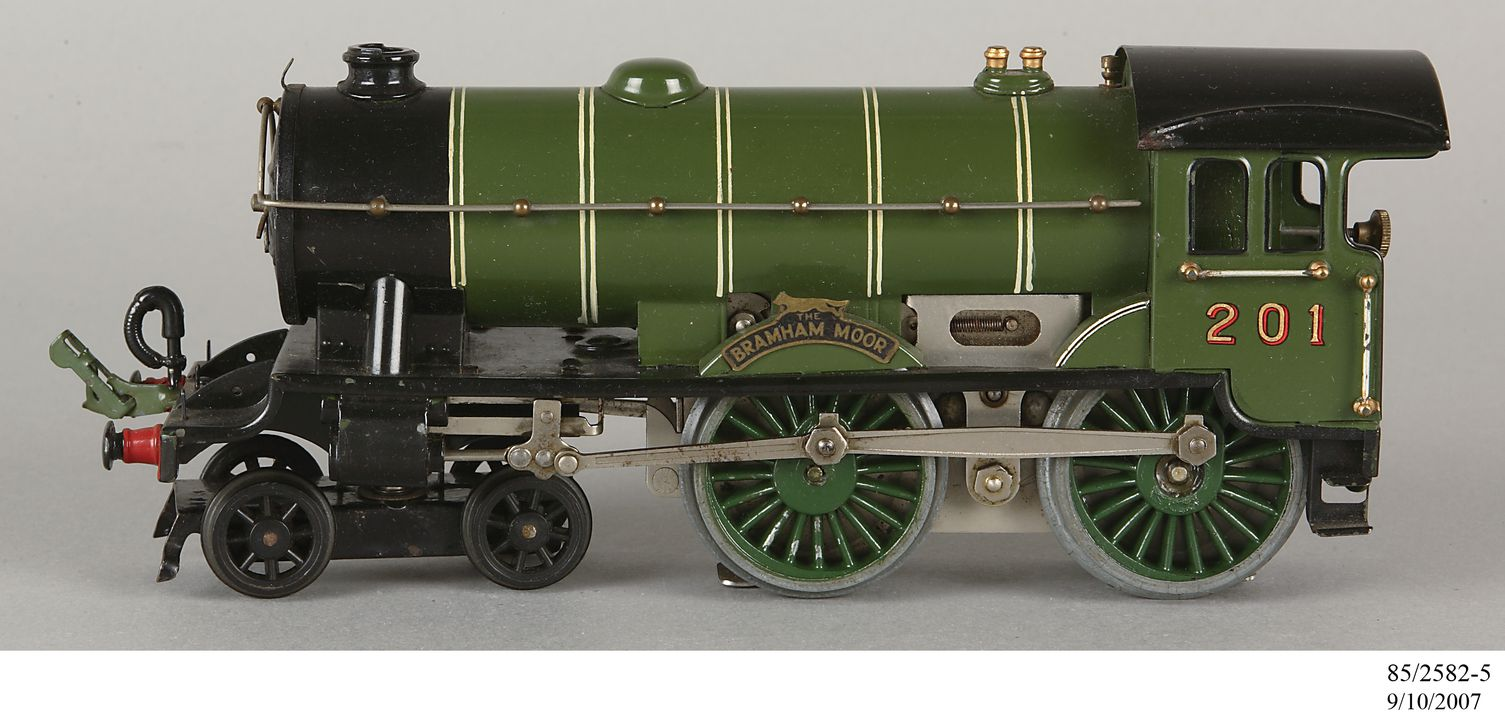85/2582-5 Toy locomotive, part of collection, Hornby E220 Special Electric Locomotive 'LNER Bramham Moor 201', 4-4-0 type, 0-gauge, 20 volt, metal, Meccano Ltd, Liverpool, England, 1935-1939. Click to enlarge.