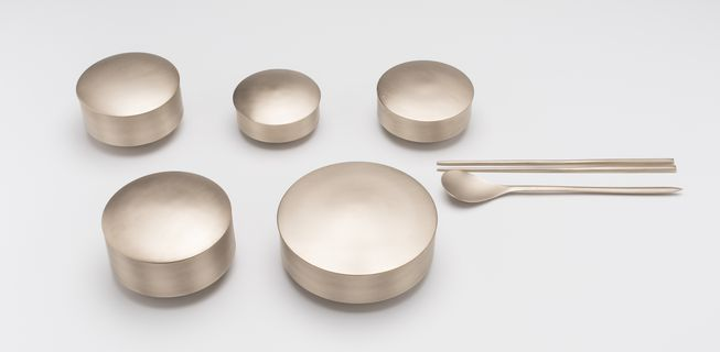 2017/60/1 Tableware, 'Bareum' set of five bowls with lids, 'Binyeo' set of chopsticks and spoon, brass, designed by GIO Kisang, made by GIO Kisang and KIM Soo-Young, Korea, 2013-2017