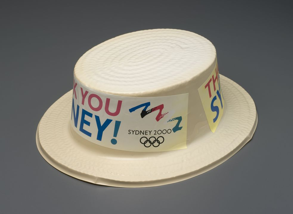 2007/189/1 Hat, Sydney Olympic bid, plastic / paper, maker unknown, Australia, 1993. Click to enlarge.