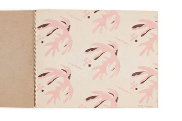 92/191-16/1 Sketchbook, comprising textile designs (3), gouache on paper / cardboard / metal, designed by Dahl Collings, New York, New York, United States of America / Sydney, New South Wales, Australia, 1950-1953