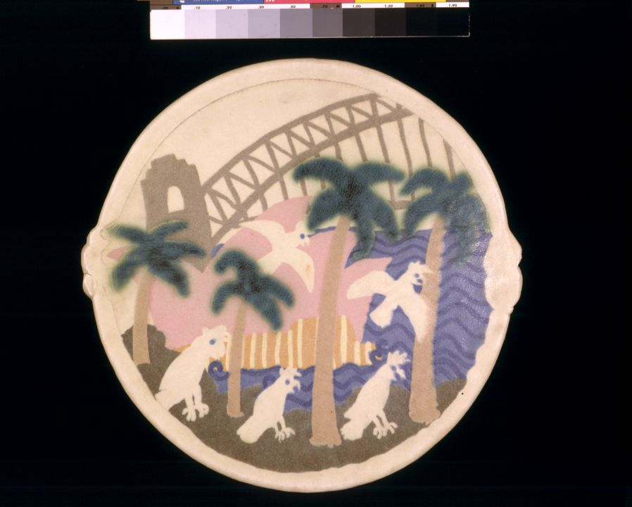 A7434 Platter, 'Sydney Harbour and cockatoos', stoneware, Sandra Taylor, Sydney, New South Wales, Australia, 1980. Click to enlarge.