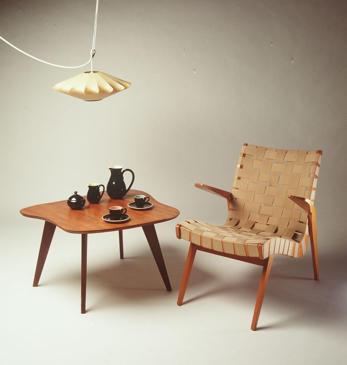 92/1889 Armchair, wood/cotton (parachute) webbing, designed by Douglas Snelling and made by Functional Products Pty Ltd Sydney, Australia, 1953. Click to enlarge.