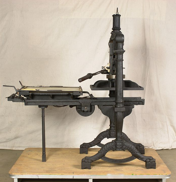 H3408 'Albion' printing press, hand operated, iron, made by A. Wilson and Sons, London, England, 1850, used by Sir Henry Parkes to print the 'Empire' newspaper, Sydney, 1850 - 1856; later used by Messrs. Craigie and Hipgrave to print the 'Express' newspaper, Armidale, New South Wales, Australia. Click to enlarge.