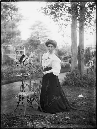 2008/165/1-5 Glass plate negative (1 of 193), woman standing in garden, glass, photographer possibly Arthur Phillips, Australia, 1880-1920