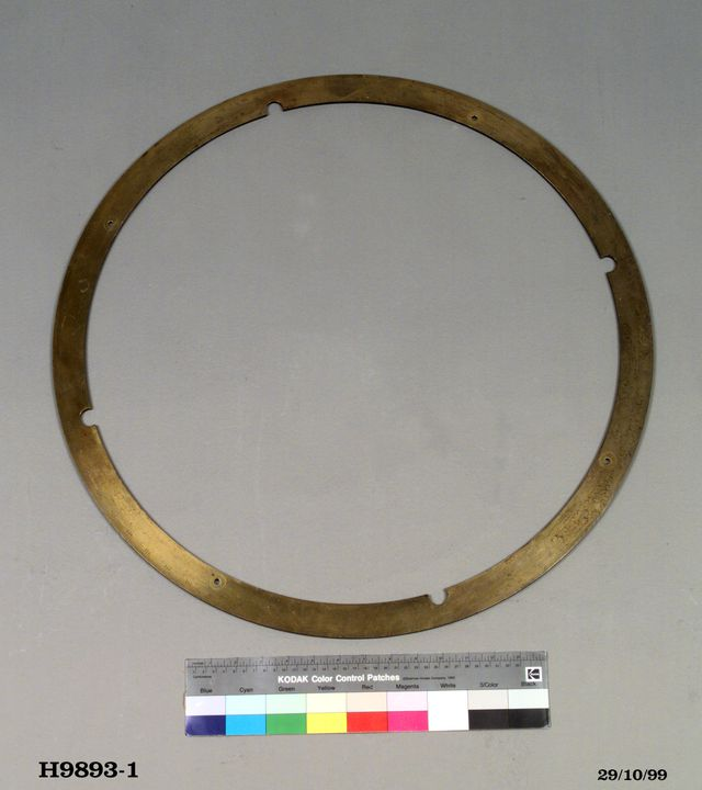 H9893-1 Astronomical equipment, mural circle, brass, designed and made by Edward Troughton, London, England, 1807-1809, used at Parramatta Observatory, 1815-1825. Click to enlarge.