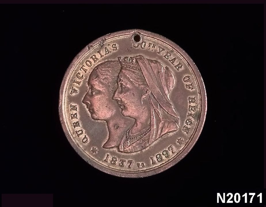 N20171 Medal, Gowing Bros Store, commemorative Queen Victoria, Diamond Jubilee, copper alloy, Sydney, 1897. Click to enlarge.