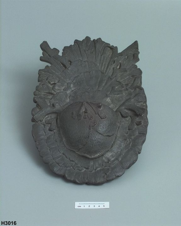 H3016 Wall vase, likeness of staghorn fern, lead alloy, made by Lucien Henry, Sydney, New South Wales, Australia, 1880-1891. Click to enlarge.