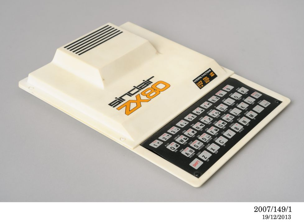 2007/149/1 Personal computer, Sinclair ZX80 microcomputer, plastic / metal / electrical components, made by Sinclair Computer Ltd, Cambridge, Cambridgeshire, England, 1980. Click to enlarge.