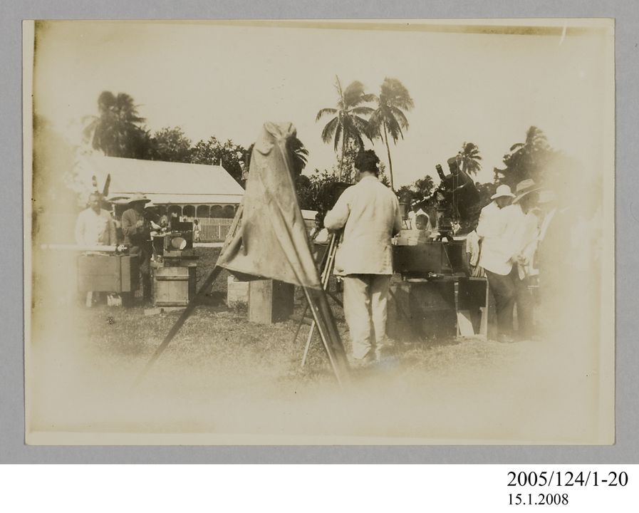 2005/124/1-20 Photograph, part of collection owned by James Short, black and white, Tahiti eclipse expedition, paper, photographer unknown, Tahiti, 1908. Click to enlarge.