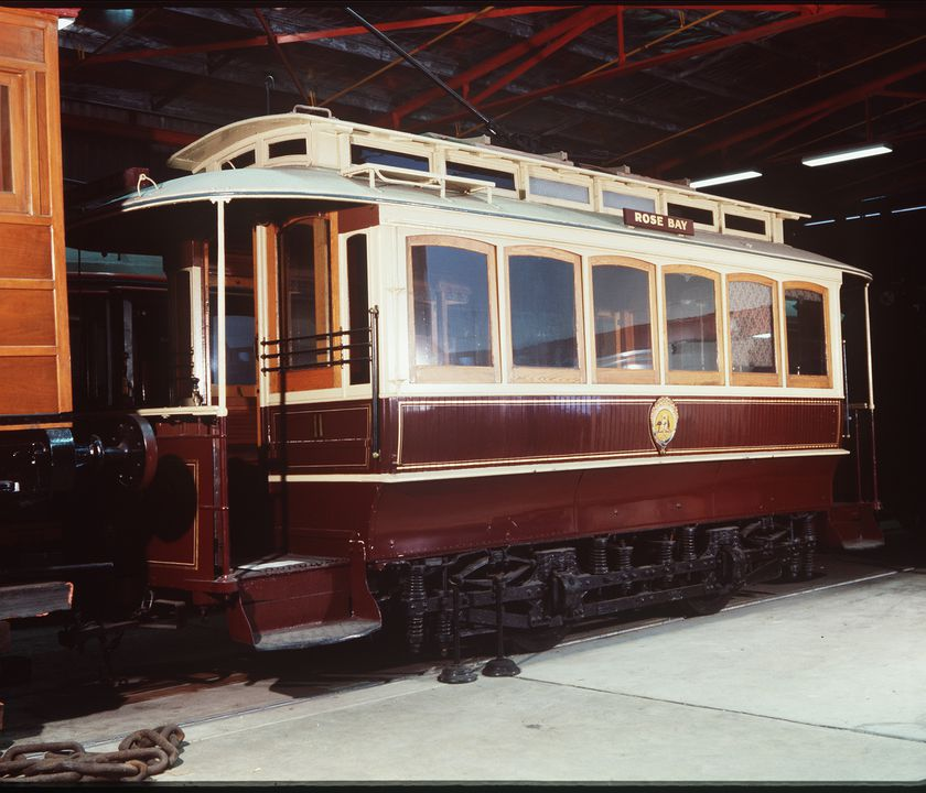 B1481 Tram, full size, electric, C-class, No. 11 (later 57S), timber/metal, Hudson Bros, Sydney (body), Peckham Motor Truck & Wheel Co., Kingston, New York, USA (bogies), 1898.. Click to enlarge.