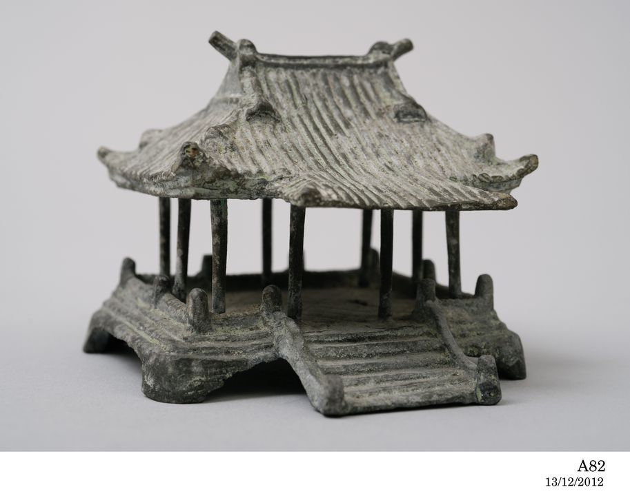A82 Model, Japanese house, bronze, maker unknown, Japan, date unknown, collected by the Rev. Julian Tenison-Woods, 1886. Click to enlarge.