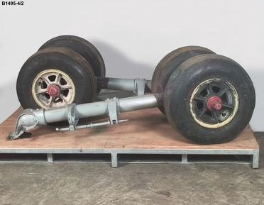 B1495-4/2 Main beaching gear, PB2B-2 Catalina flying boat 'Frigate Bird II', metal / rubber, made by Boeing Aircraft of Canada Limited, Vancouver, Canada, 1944 and Goodyear Tyre and Rubber Company, Australia, 1944-1951, used on pioneering flight Australia-Chile, by P G Taylor, 1951