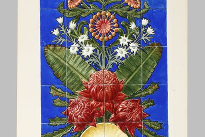 P3008 Design, 'Wall Decoration, Majolica', from unpublished book, 'Australian Decorative Arts', paper / watercolour / gouache / pencil, Lucien Henry, Australia / France, 1889-1891