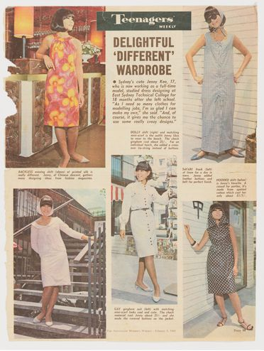 98/180/1-30/1 Magazine cutting, feature 'Teenagers' Weekly'. 'Delightful Different Wardrobe' with photographs of Jenny Kee modelling various outfits she has made, p.59 The Australian womens Weekly, Sydney,